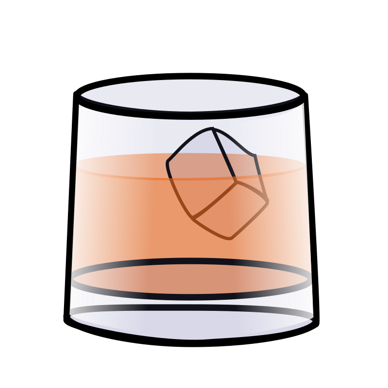Whiskey vector rock glass. Transparent library huge
