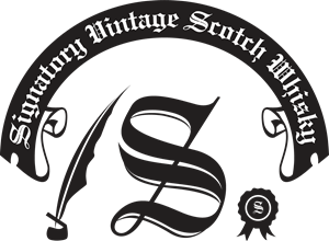Whiskey vector vintage. Signatory scotch whisky logo