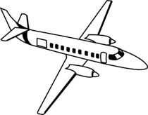 White plane. Free black and aircraft