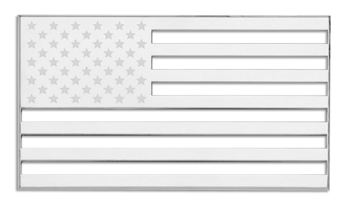 White american flag png. D chrome plated sticker