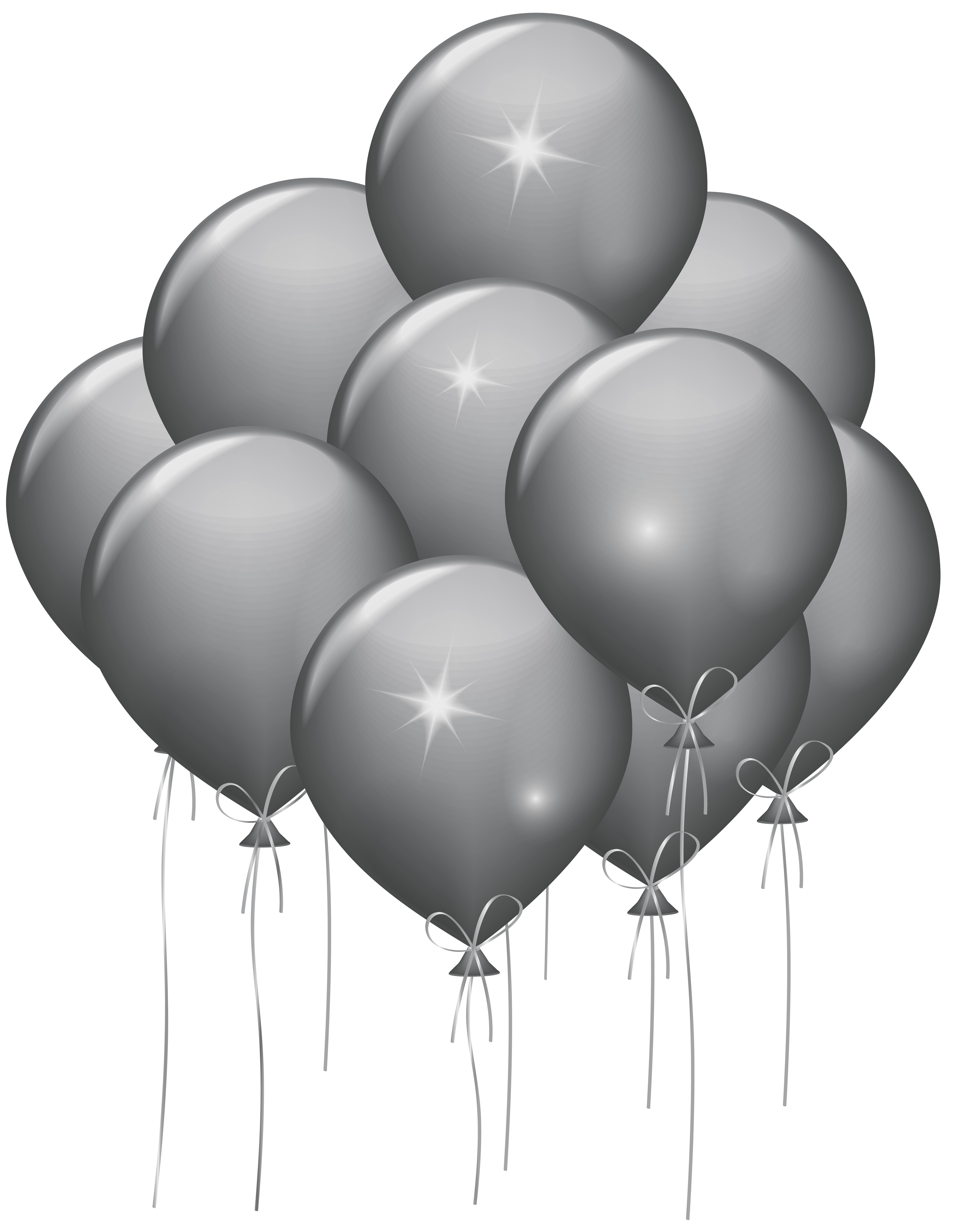 White balloons png. Silver transparent clip art