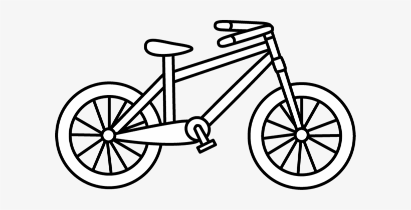 White bicycle. Black and clip art