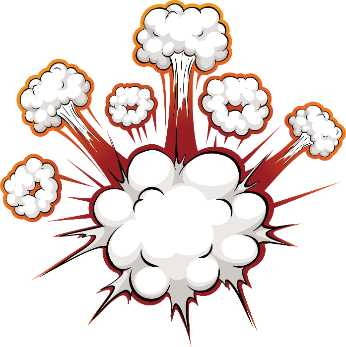 Bomb cartoon png. Blast effect white explosion