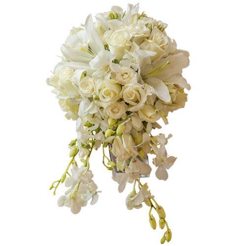 White wedding flowers png. Cascading bouquet