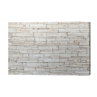 White Stone Tile Texture Brick Wall Canvas Print