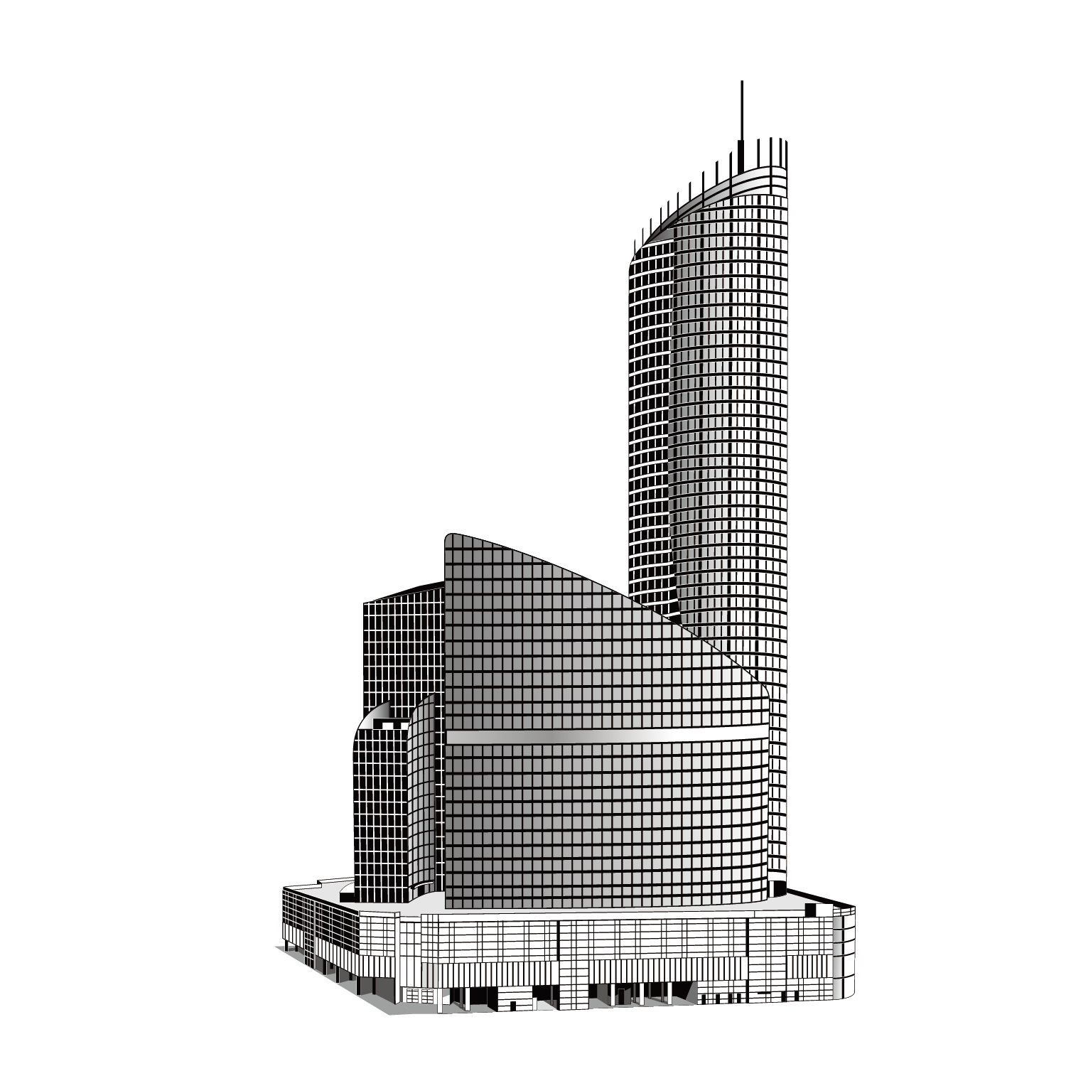White building png. Skyscraper black and high