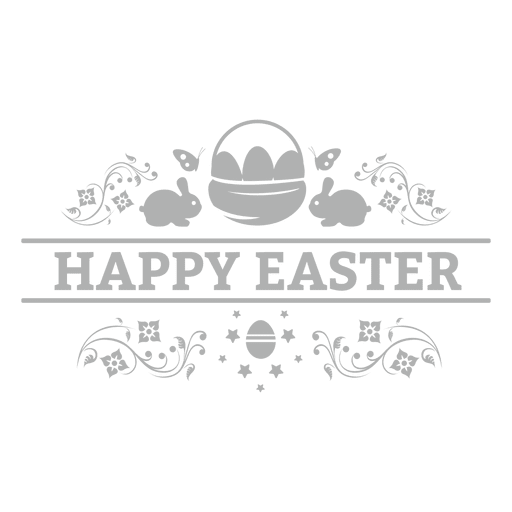 White chalk banner png. Happy easter badge transparent