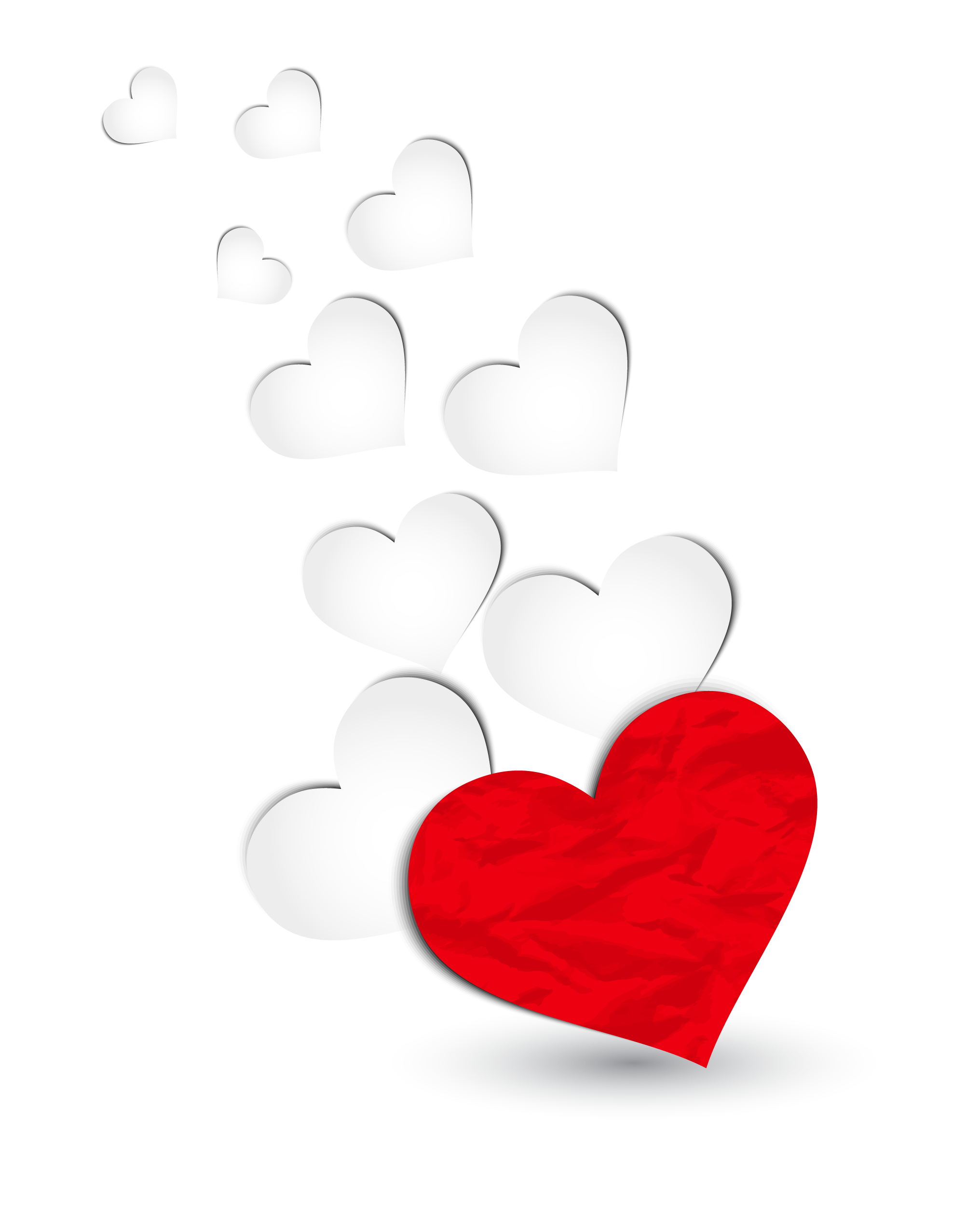 Red and White Hearts Decoration PNG Clipart Picture