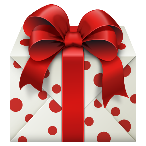 White christmas bow png. Gift box with red