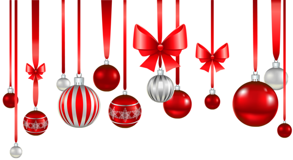 Christmas Red White Balls Ornament PNG Picture