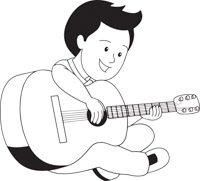 White clipart guitar. Black and cilpart attractive