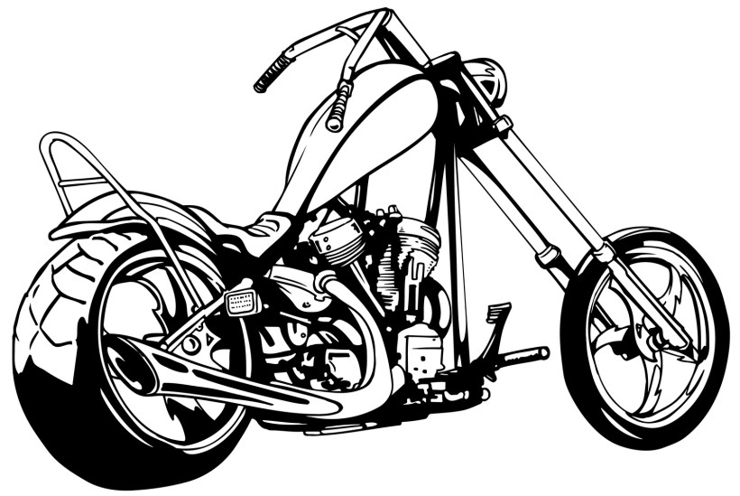 White clipart motorcycle. Free black and menhavestyle