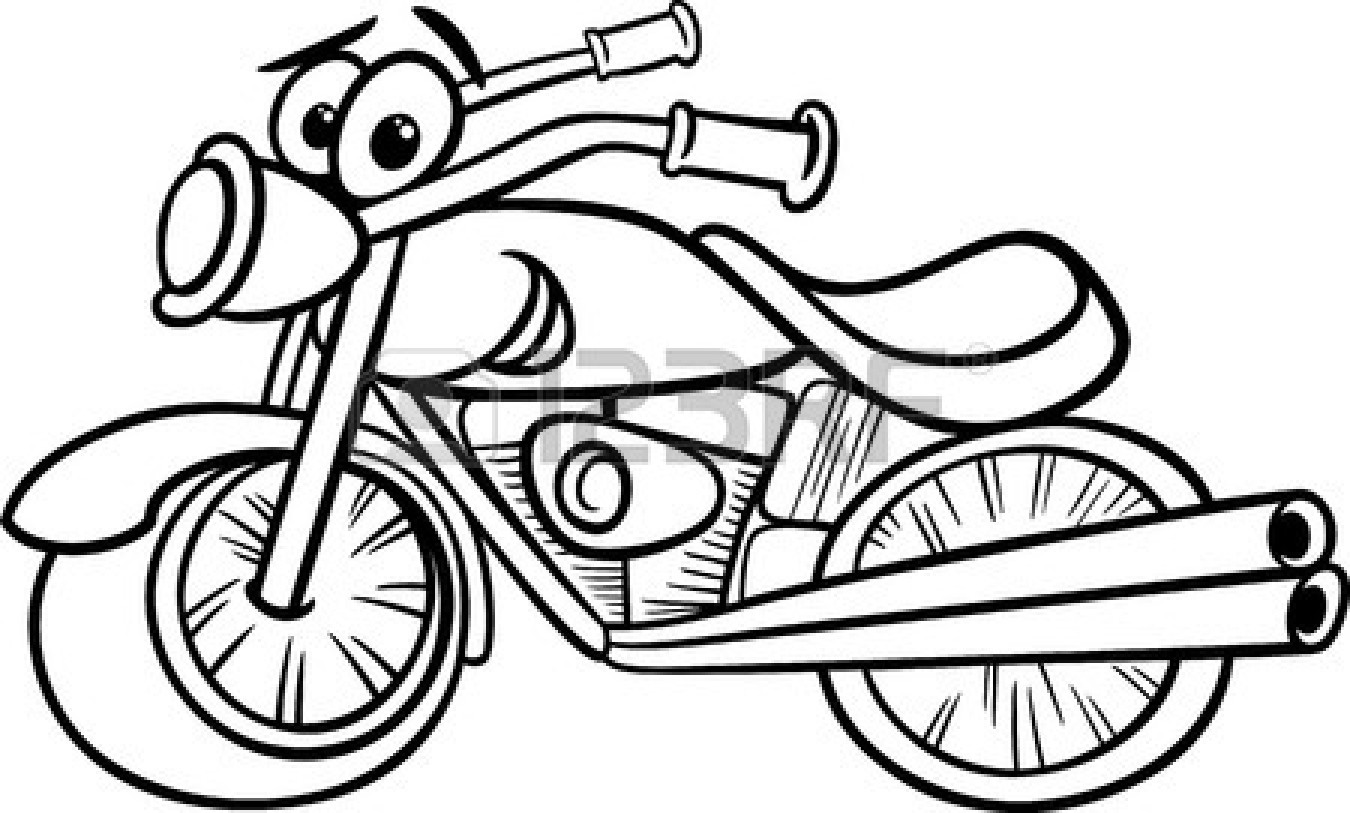 White clipart motorcycle. Black and