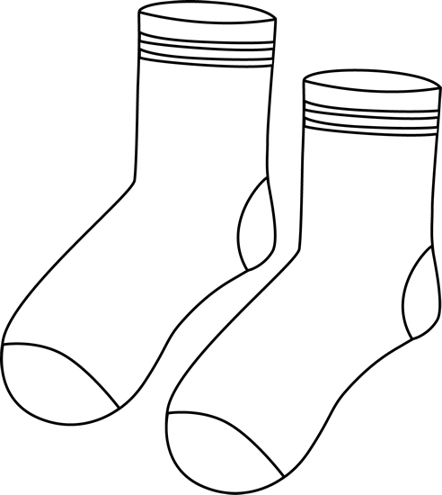 White clipart socks. Pair of black and