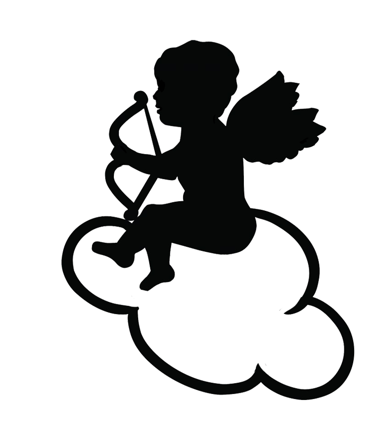 White cupid png. Angel silhouettes on a