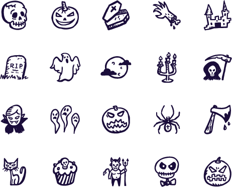 Spooky icons hand drawn. Drawing detail halloween clip freeuse stock