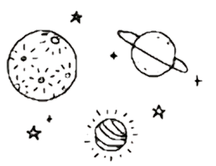 White drawing aesthetic. Collection of free planets