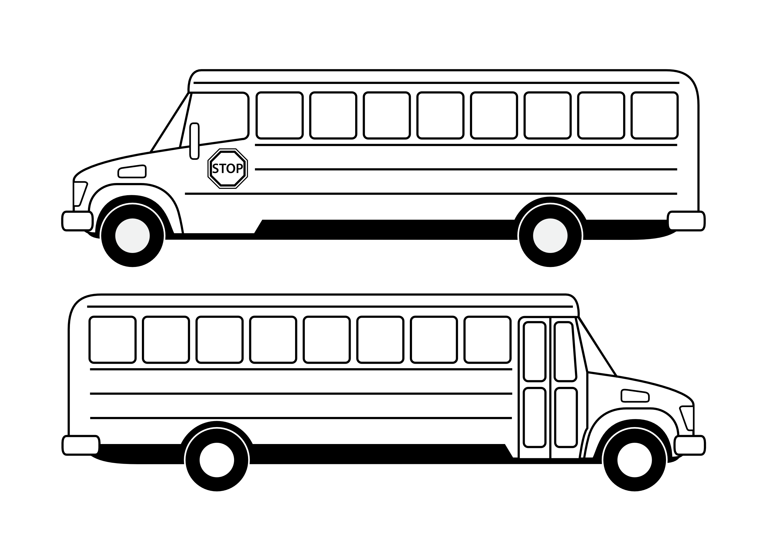 White drawing bus. Collection of free basic