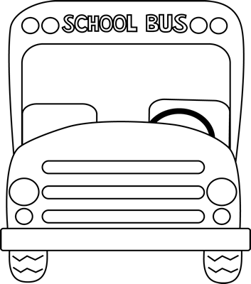 Drawing letter safety. School bus front black