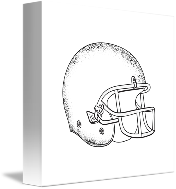 White drawing football. American helmet black and