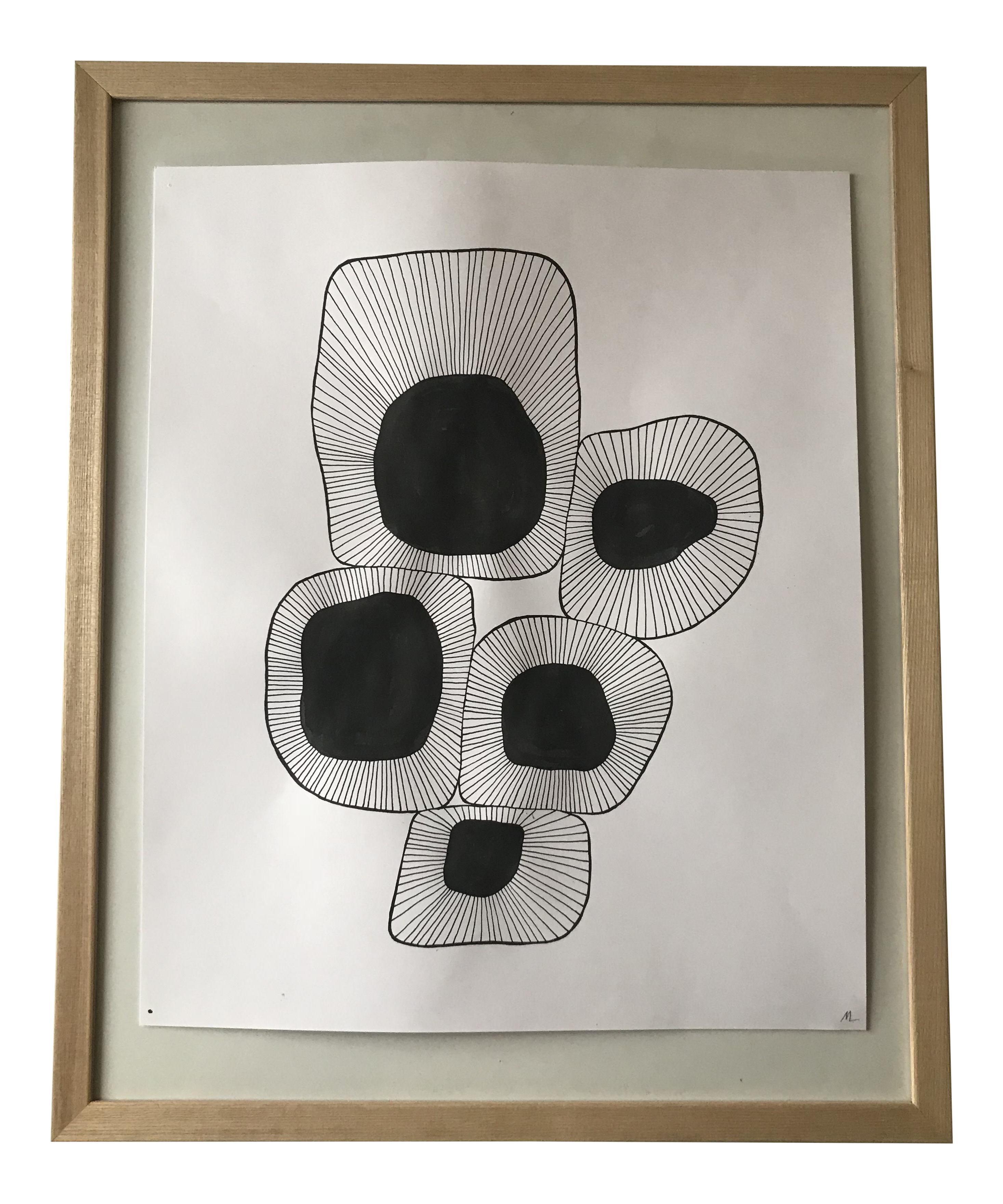 White drawing ink. Graphic black organic shapes