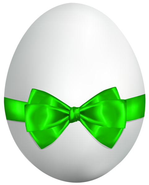 White easter egg png. With green bow clip