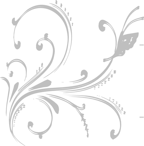 White floral design png. Grey with butterfly clip