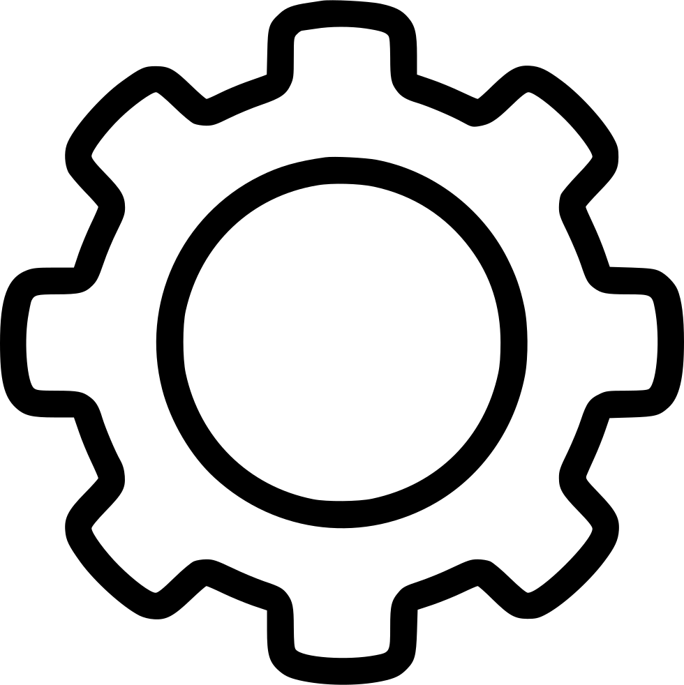 White gears png. Outline gear svg icon