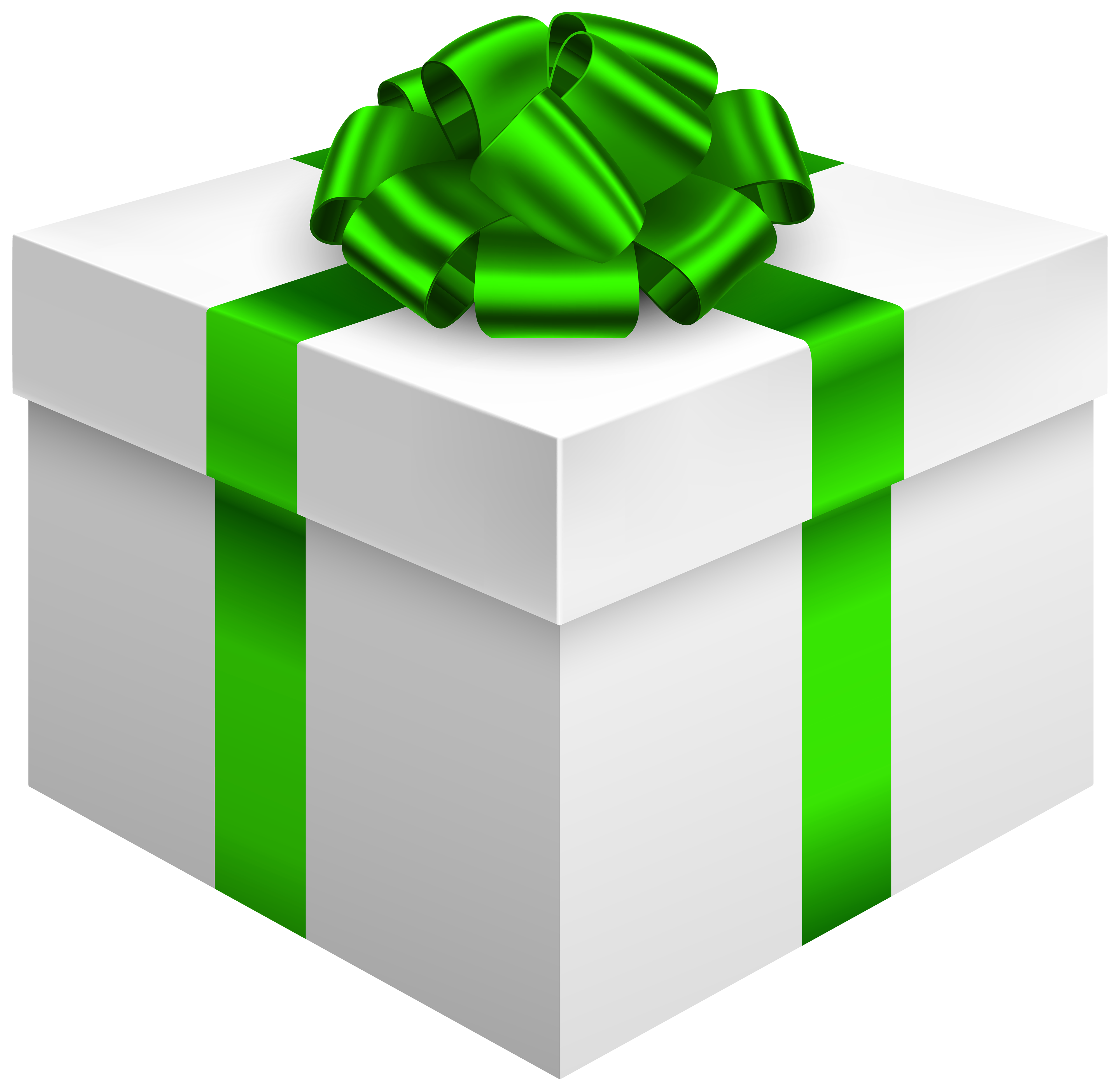 White gift bow png. Box with green clipart