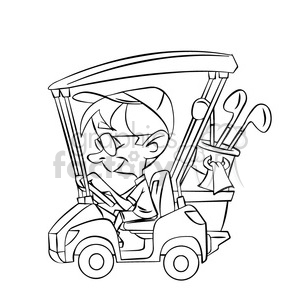 White golf cart. Black and image of