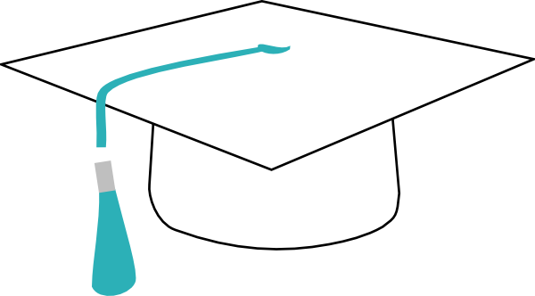 White graduation cap png. With teal ribbon clip
