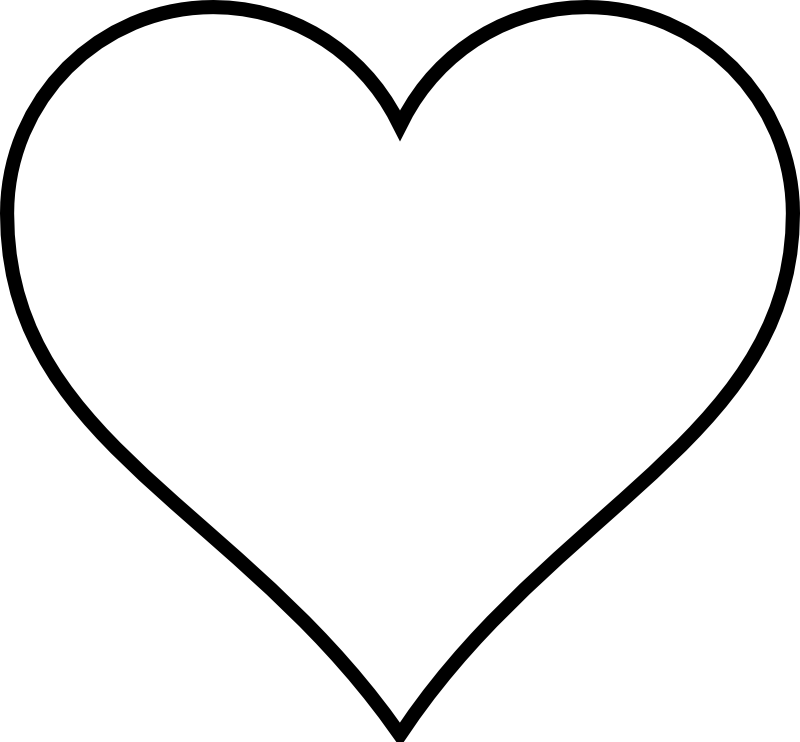 White heart icon png. Large template printable black