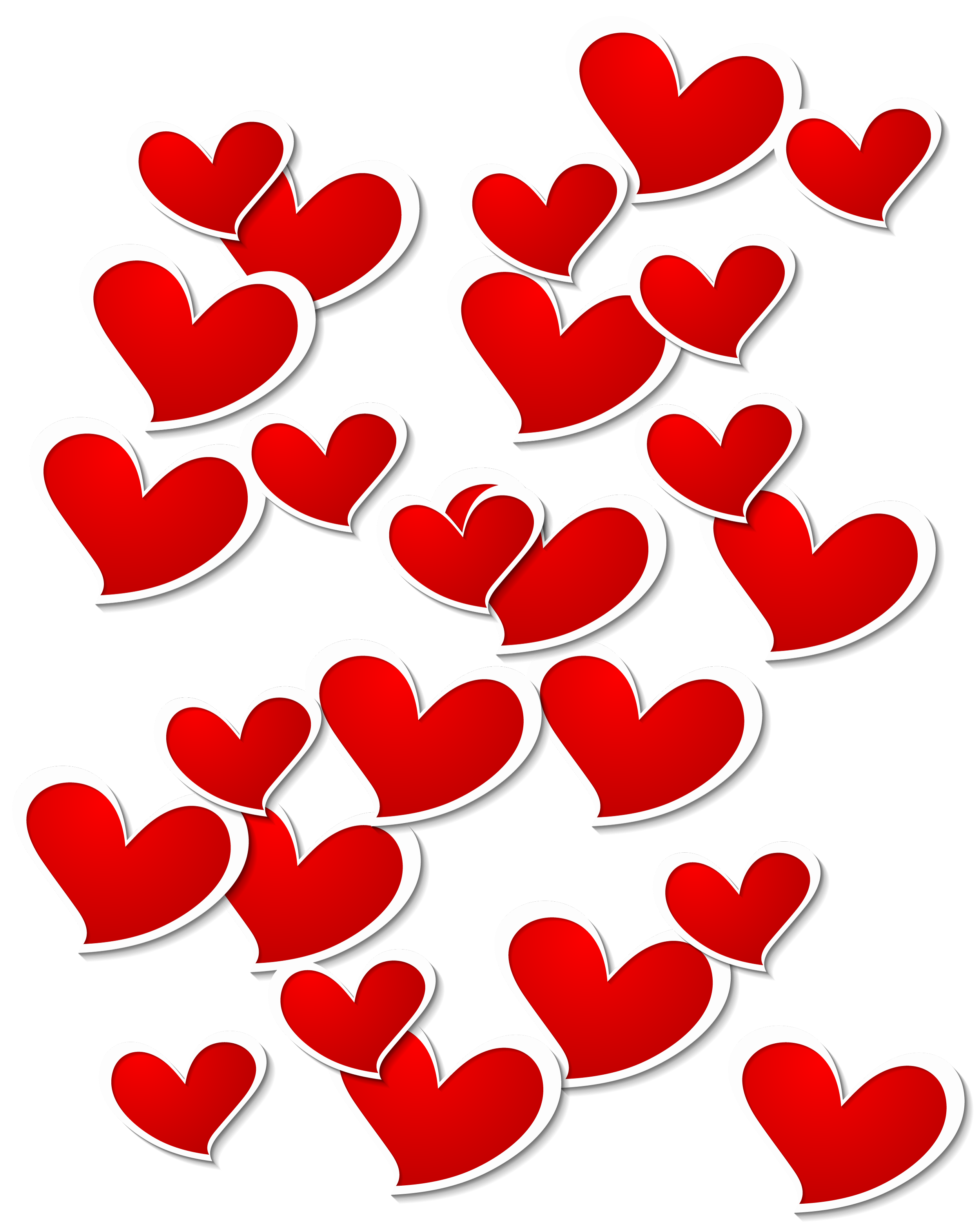 White png heart. Transparent red hearts decoration