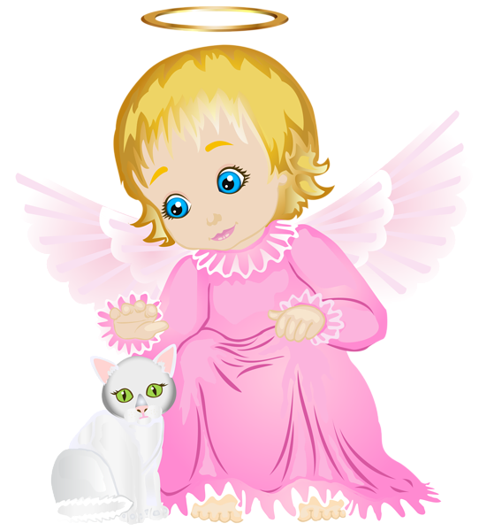 White kitten png. Cute angel with transparent