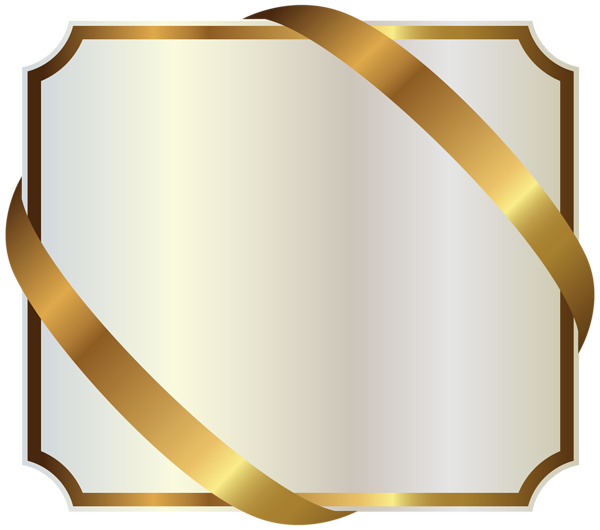 White labels png. Label with gold ribbon