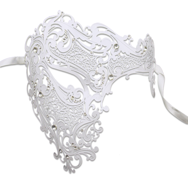 WHITE Series Signature Phantom Of The Opera Half Face Mask