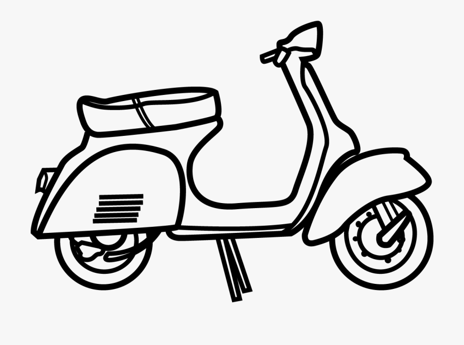 Black scooter. Vespa clipart and white