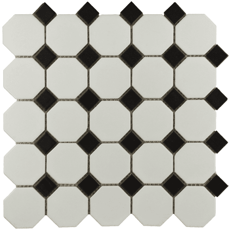 White octagon png. Bally black mosaic roomset