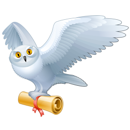 White owl png. Carrying scroll icon clipart