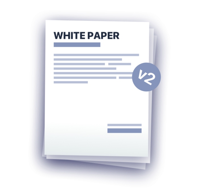 White paper png. Blue official website for