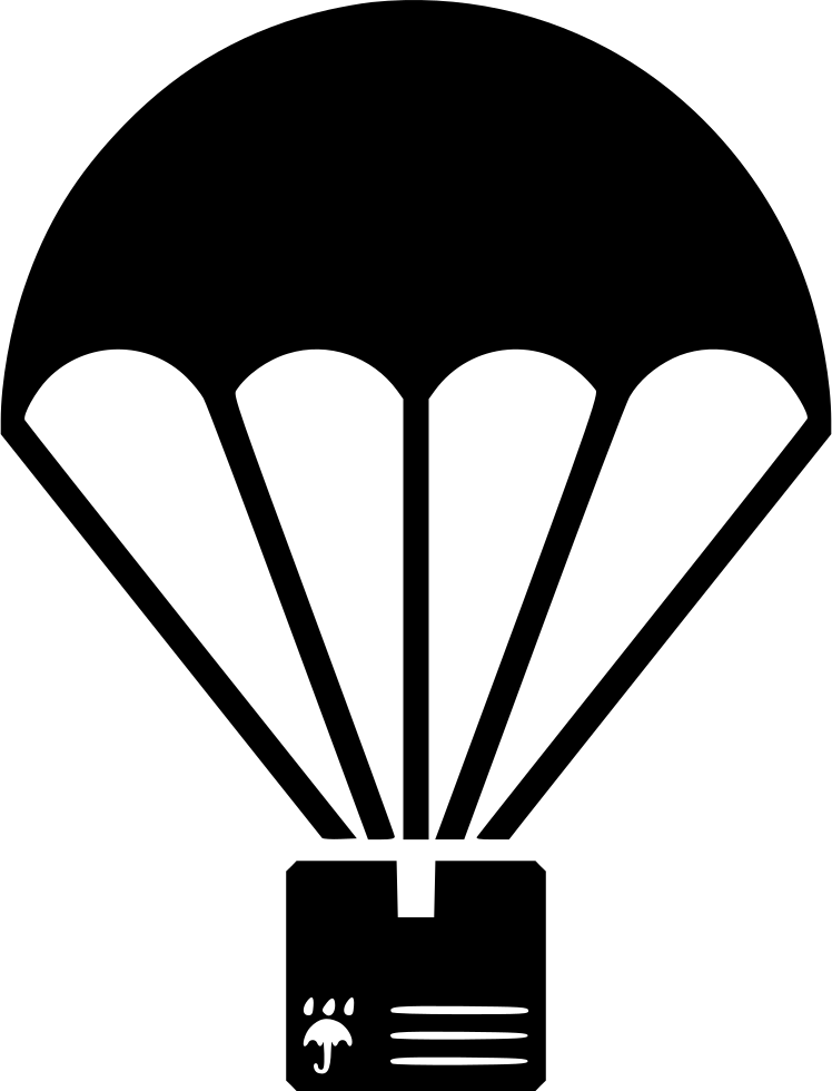 White parachute crate icon png. Cargo svg free download