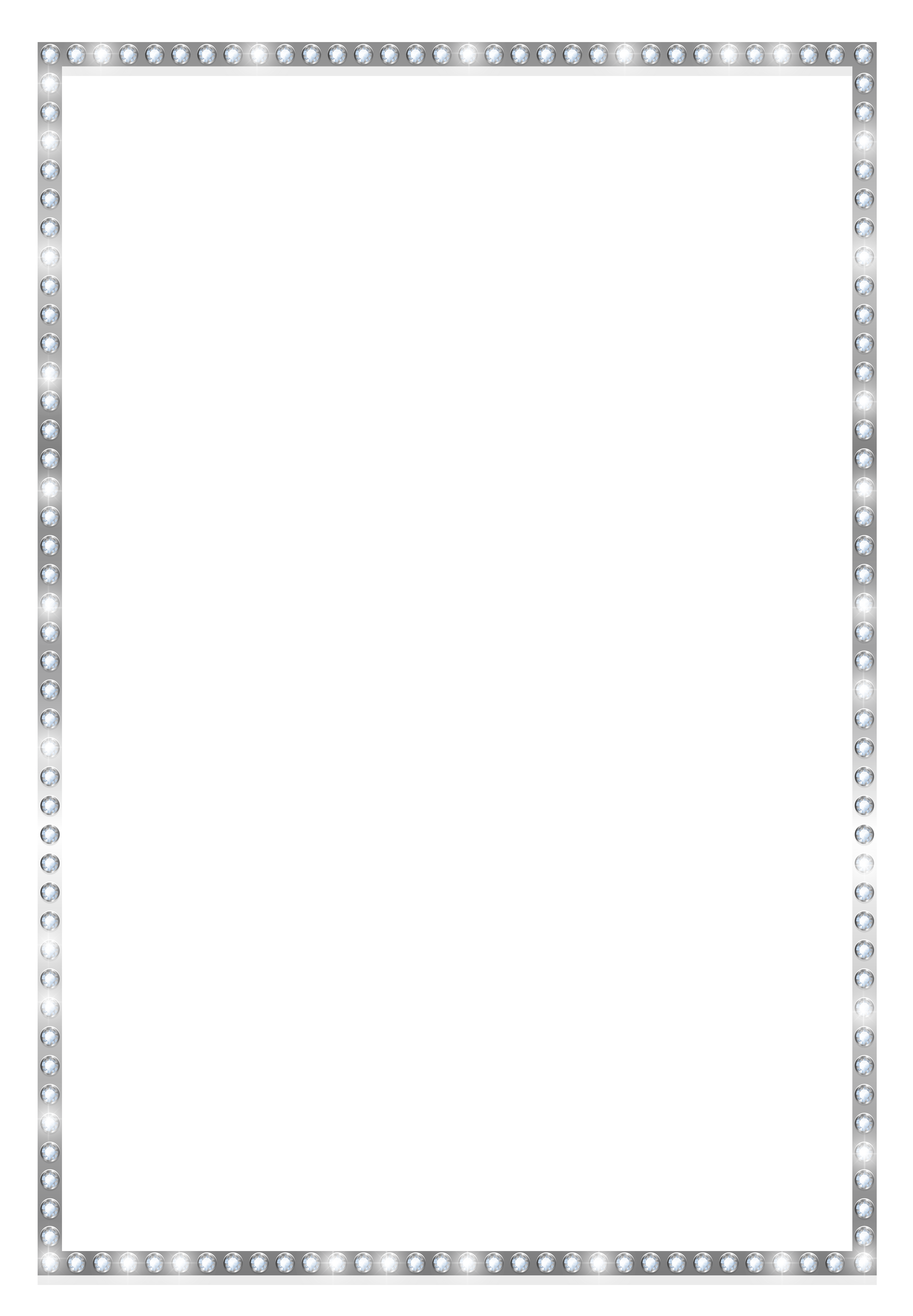 White png border. Silver frame with crystals