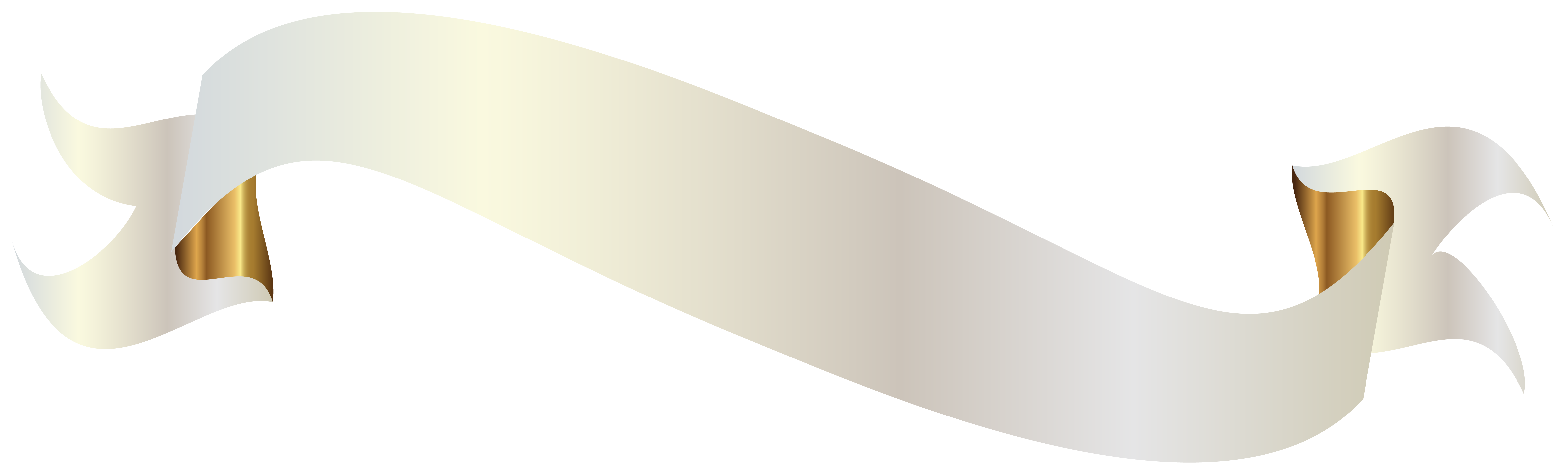 White ribbon banner png. With gold clipart picture