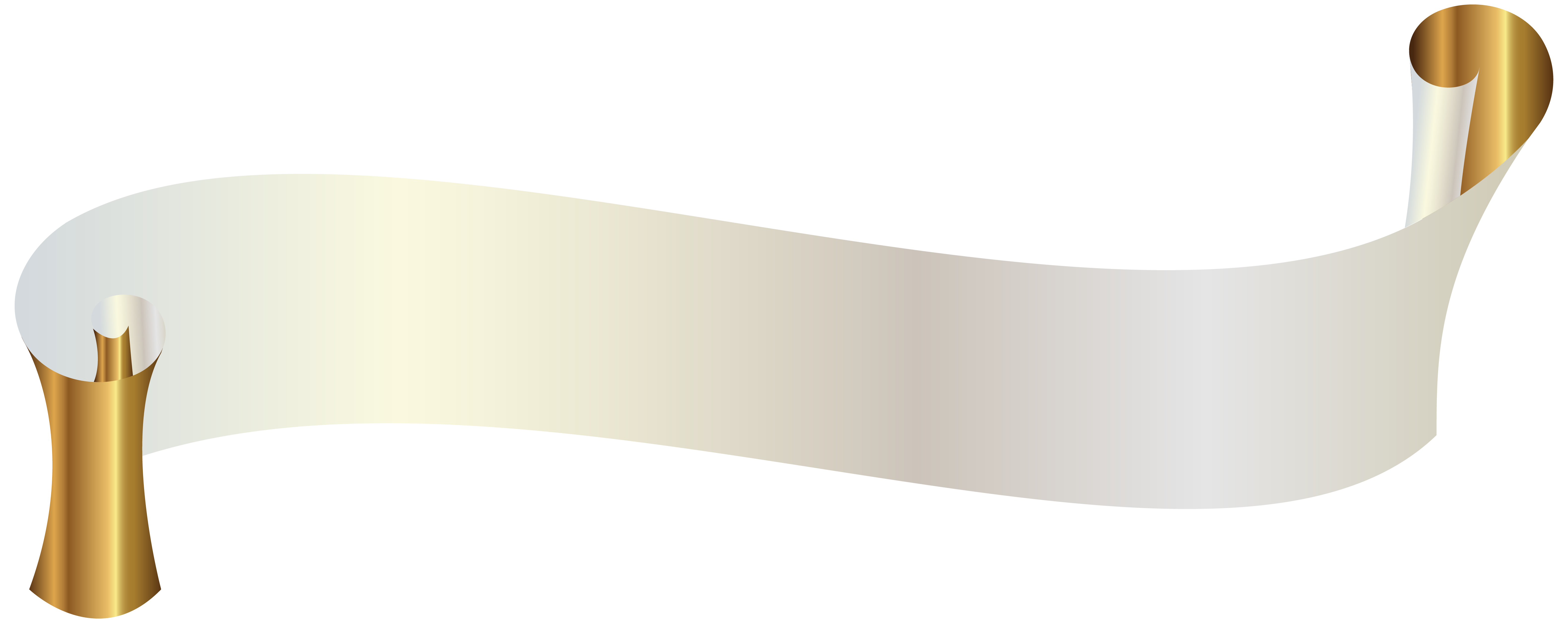 White ribbon banner png. With gold clipart image