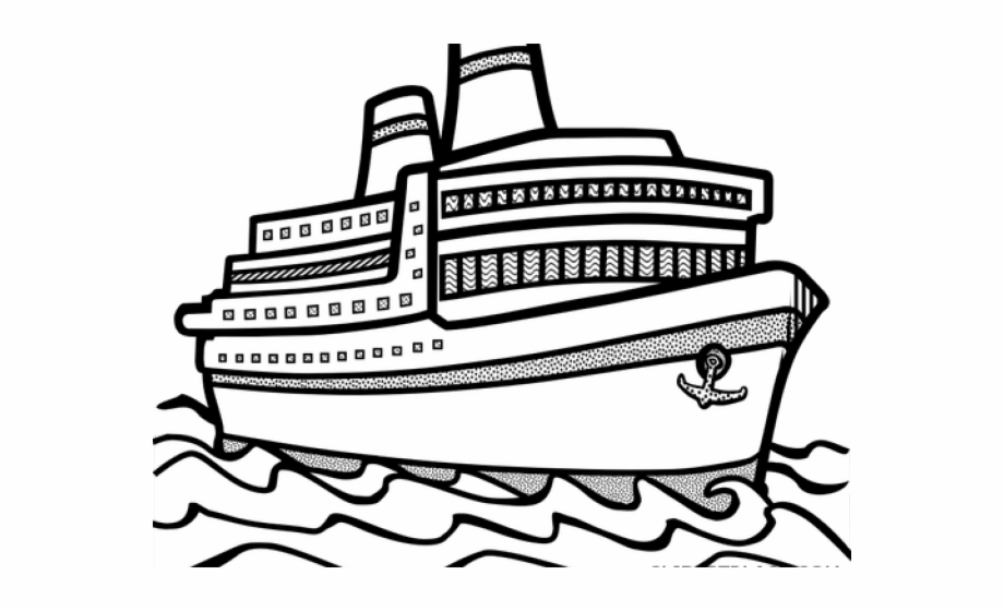 White ship. Black and clipart images