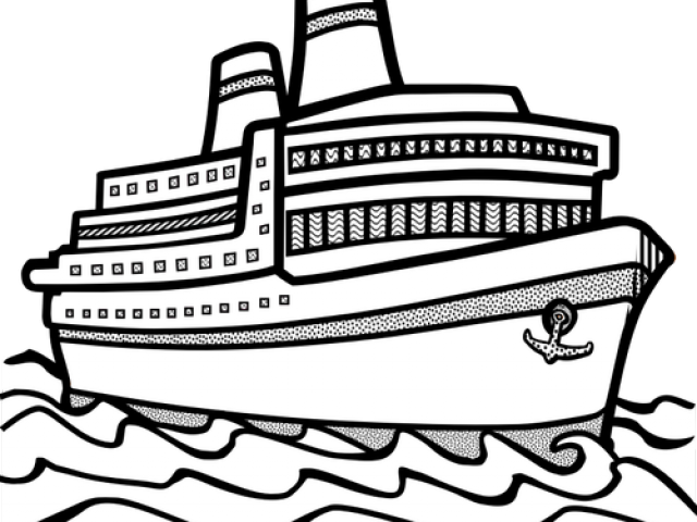 White ship. Cruise clipart black and