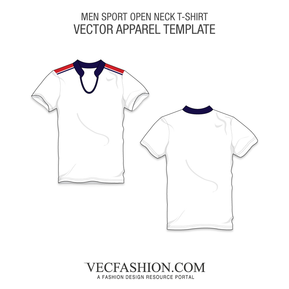 White shirt template png. Sport open neck t