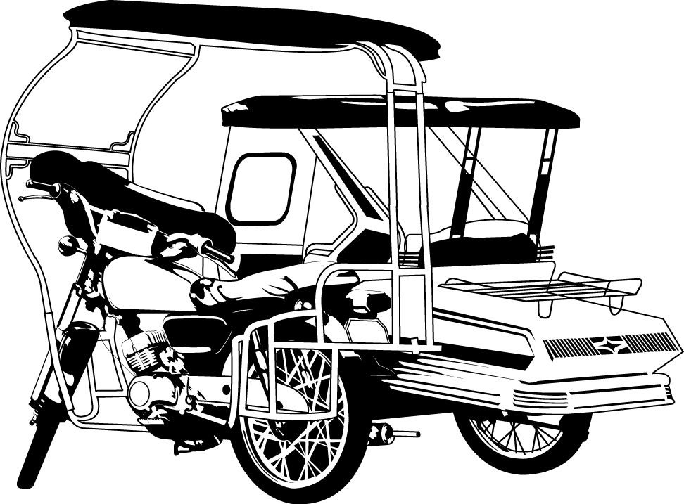 White tricycle. Artwork for motorized trike