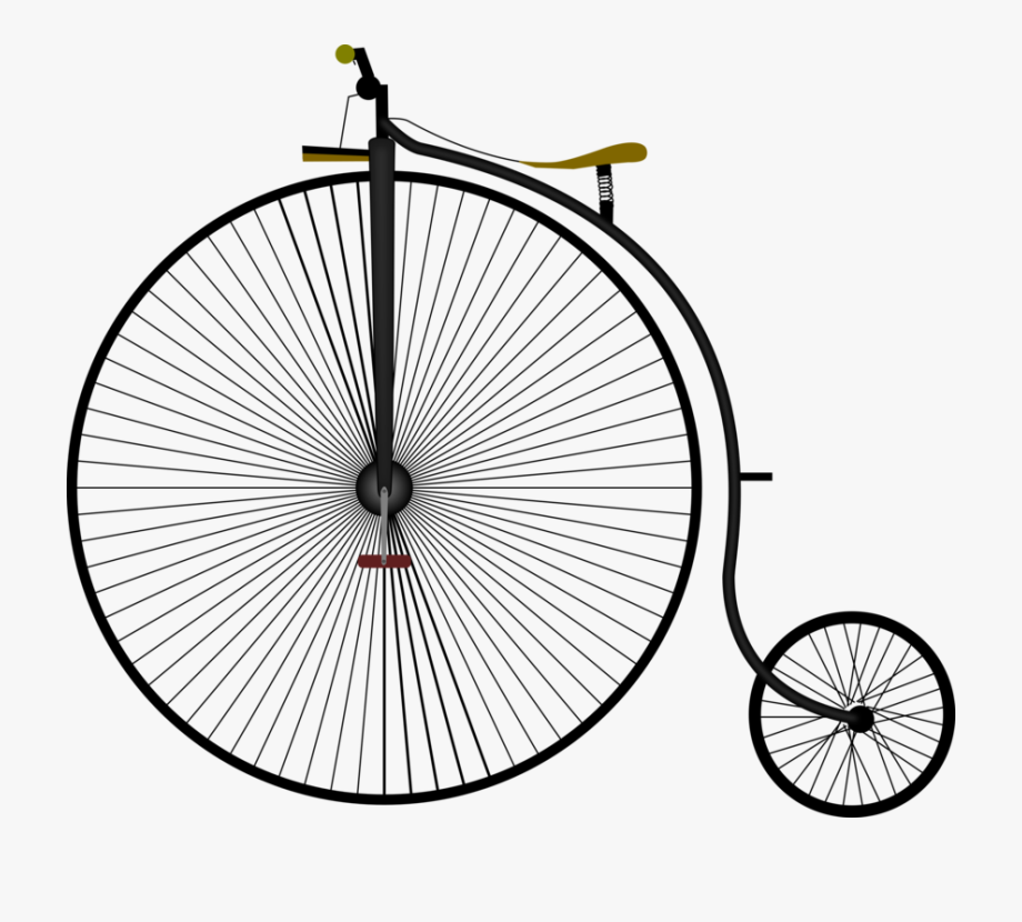 White velocipede. Bicycle wheels penny farthing