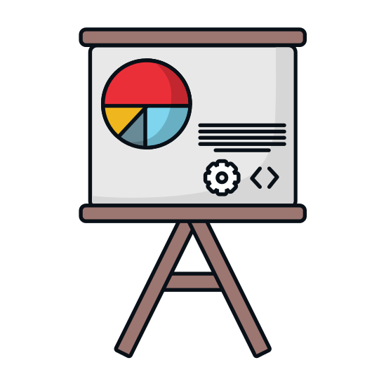 Whiteboard vector cartoon. Statistics on icons by